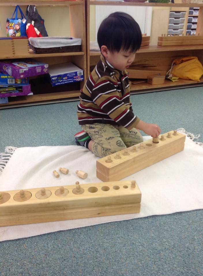 works with the knobbed cylinders. The children learn volume, tall, short, thick, thin, wide, and narrow all from exploring this work