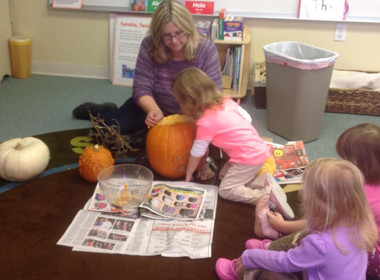 Science Scooping Out Pumpkins